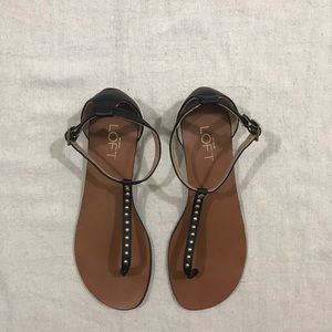 Black and Gold T Strap Sandals by Loft